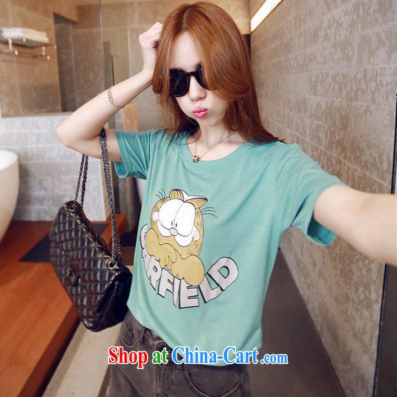 2015 spring new kitten letter cartoon liberal students, short-sleeved T-shirt Korean female T-shirt pink XL