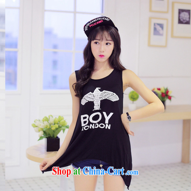 Summer 2015 New Women, long T pension Korean sleeveless loose cotton letter stamp small fresh T-shirt picture color black are code