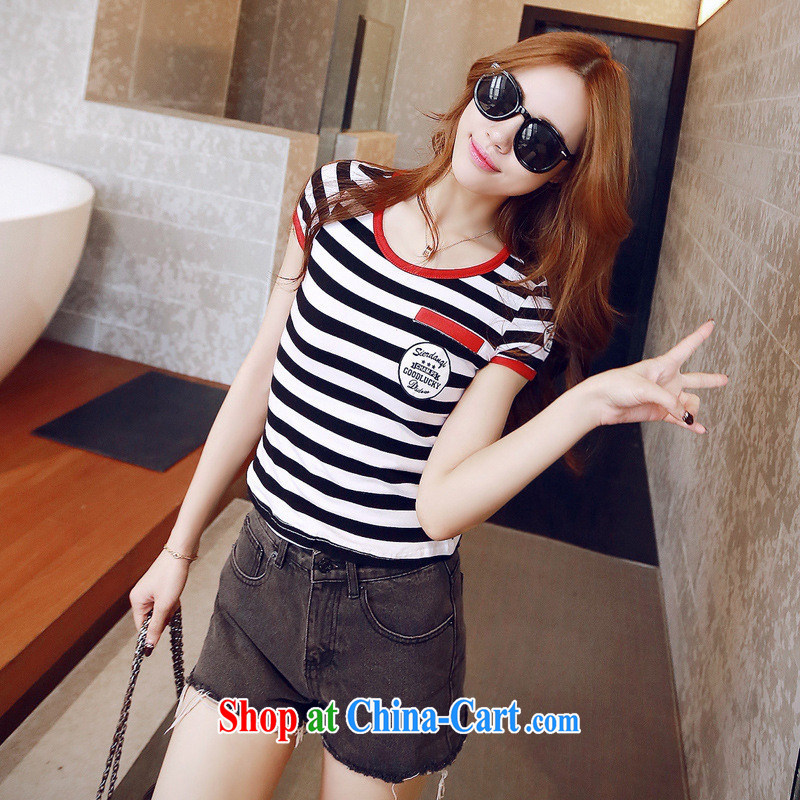 2015 Korean version of the new, short-sleeved T T-shirt 100% Cotton round neck casual stripes T-shirt students female short-sleeved shirt T black XL