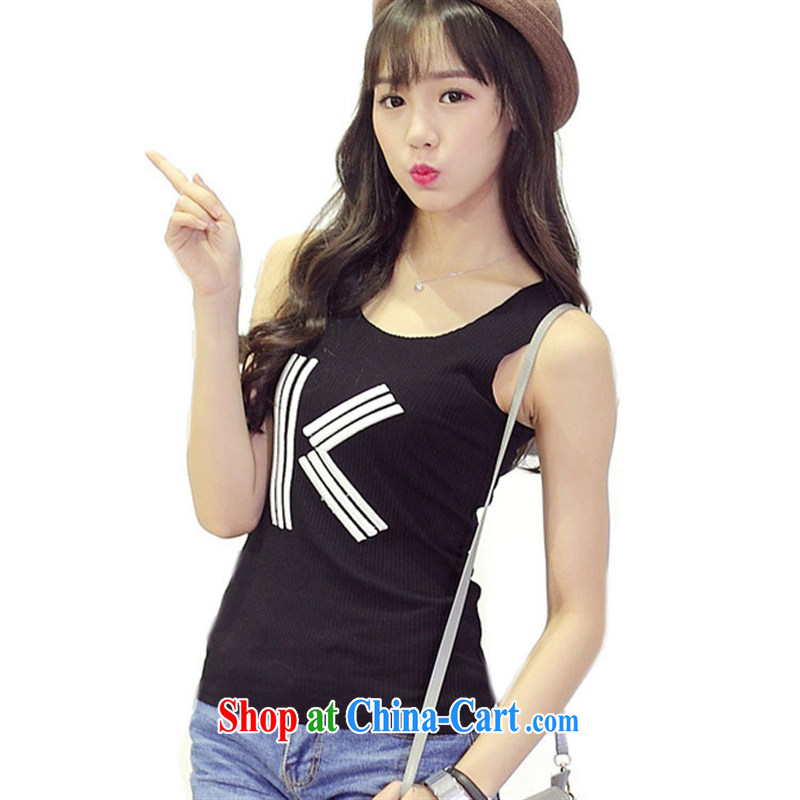 Summer 2015 new Korean T-shirt girl K letter embroidery loose the code sleeveless comfort T-shirt female white XL