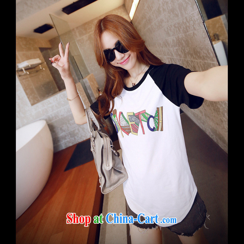 2015 spring and summer new color letter loose short-sleeved T-shirt Han version cotton female students T pension white XL
