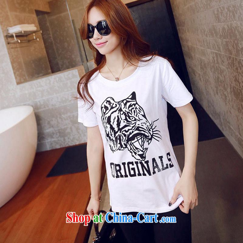 2015 spring and summer new duickers Avatar loose short-sleeved T-shirt Han version cotton girls T-shirt blue XL