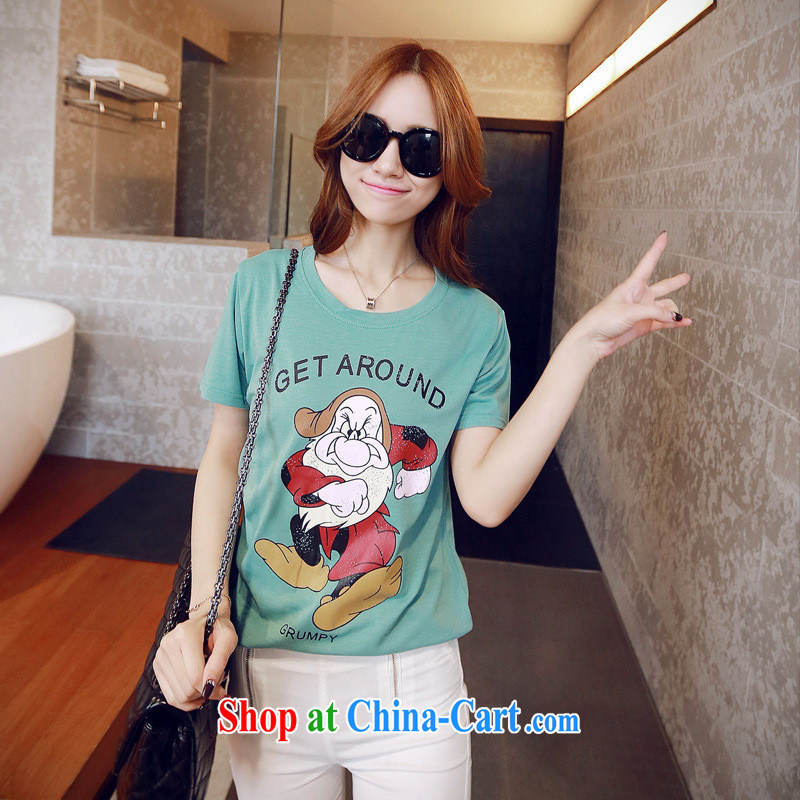 2015 spring new GET cartoon elderly leisure cotton short-sleeved T-shirt, long female pink XL