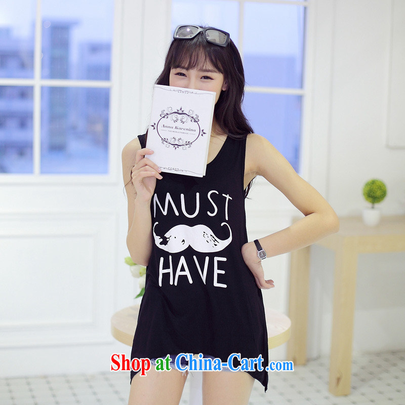 Summer 2015 new sleeveless does not rule out the T-shirt stylish Korean loose stamp duty vest T-shirt girl picture color black are code