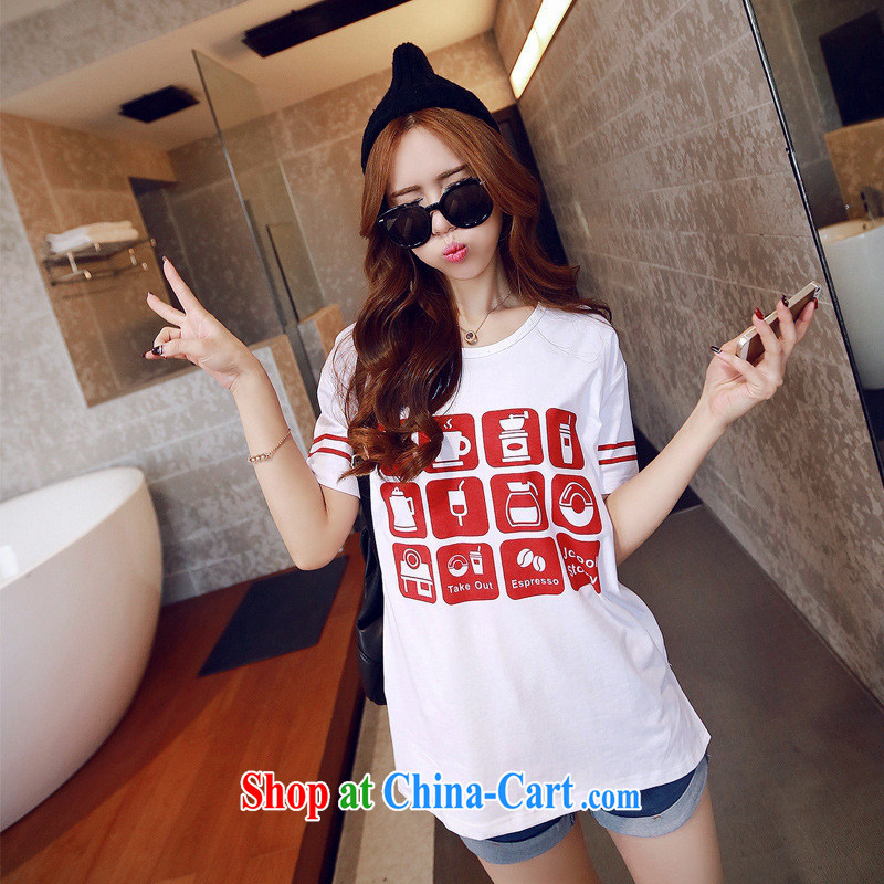 The European site female T pension 2015 spring new grid card loose Korean cotton short-sleeve T-shirt black XL