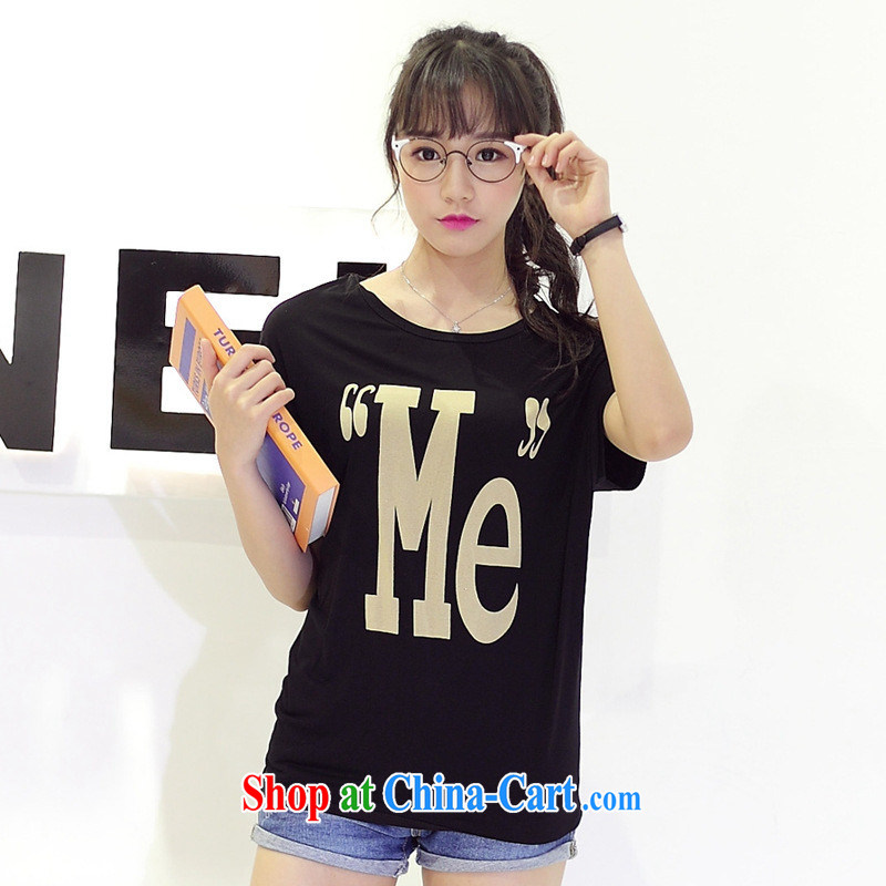 Summer 2015 new centers in Europe and America MM stamp letters loose cotton short-sleeved larger female T shirt blue large numbers are code