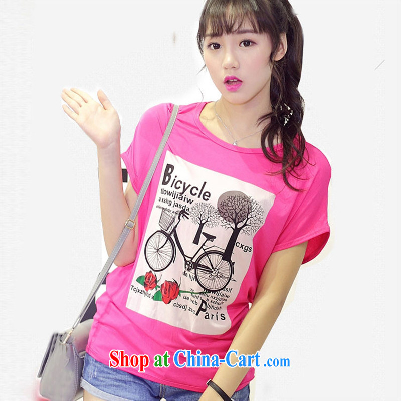 Summer new round-collar cotton shirt T female Korean Version Stamp short-sleeved loose the code t-shirt Red Large code are code