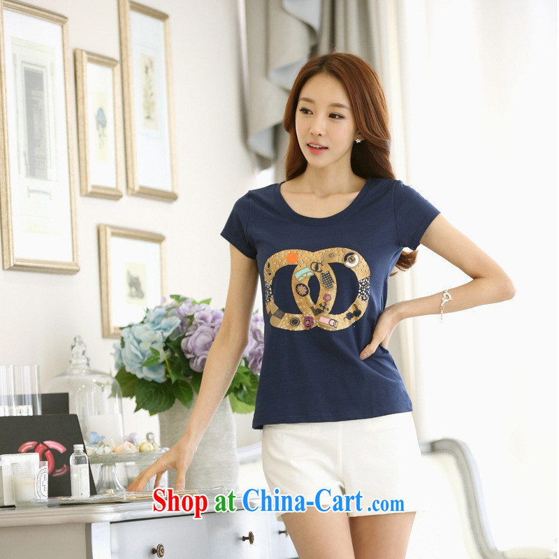 The European site female Korean summer leisure cultivating the code t-shirt stamp letters pure cotton short-sleeved T-shirt female white 2 XL