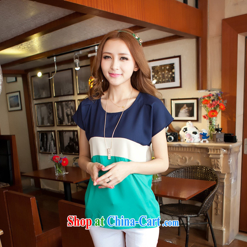 2015 Korean summer new round-collar bat short-sleeved T-shirt girls large code spell color loose T pension green stitching XXXL