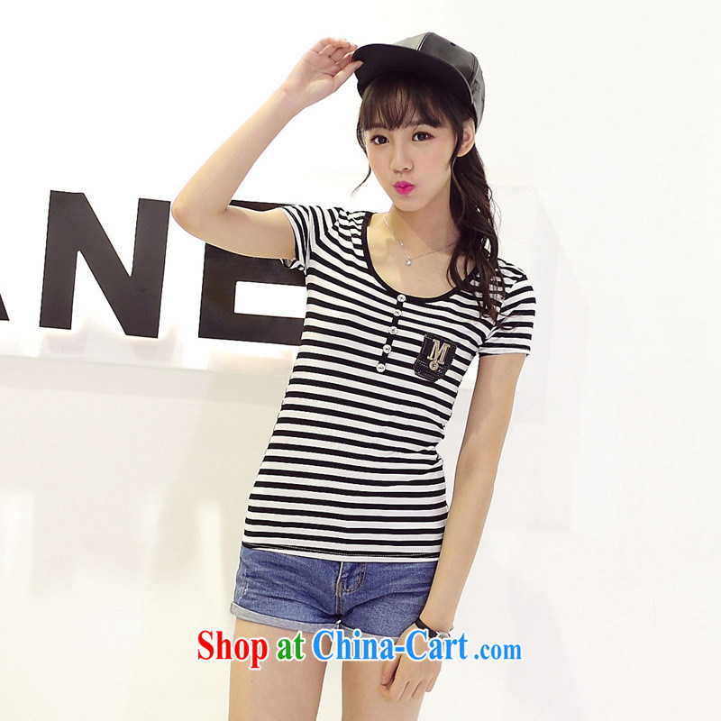 Summer 2015 new Pure Cotton round neck button T-shirt with stripes and Leisure video thin Korean short-sleeved T-shirt girl picture color XL