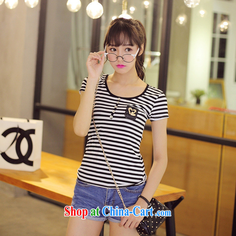 Summer 2015 new girls cotton pocket love T-shirt with stripes graphics thin Korean short-sleeved T-shirt girl picture color XL