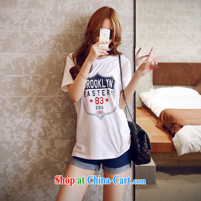 2015 spring and summer new paragraph 83 shields card stamp duty loose short-sleeved Korean cotton female T pension white XL