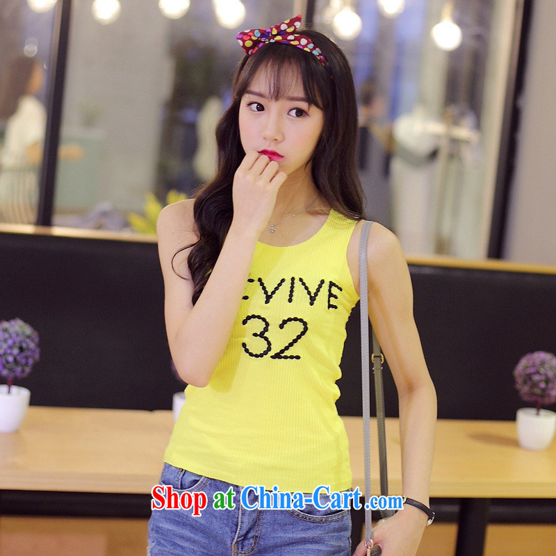 Summer 2015 new Korean female T-shirt letters embroidery loose sleeveless vest T-shirts female yellow XL