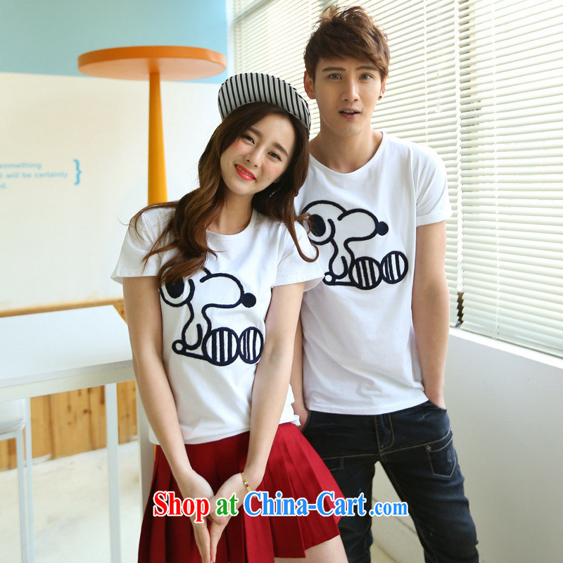 2015 spring and summer Korean history Nubian leisure spring couples 100 ground round-collar embroidered short sleeve T-shirt students serving on black XXL