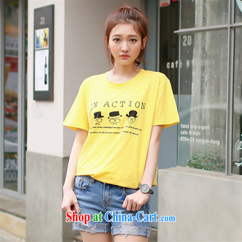 2015 summer edition Korea beauty graphics thin loose cotton short-sleeved students teenage T shirts, long wave, pink XXL