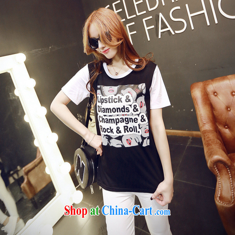 2015 spring new ROCK cotton letter short-sleeve girls T-shirt Han version relaxed European site female black XL