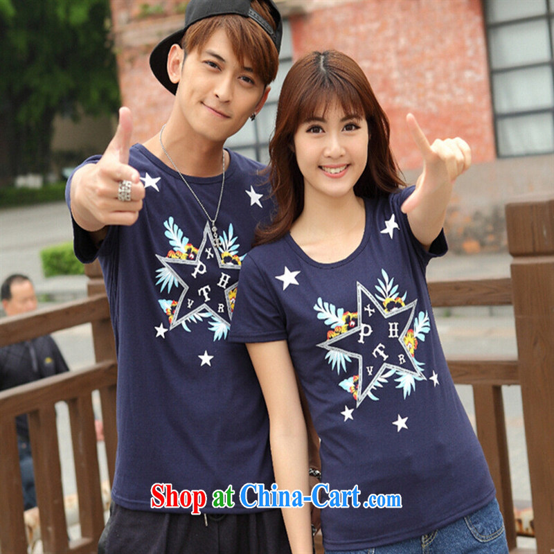 2015 new Korean spring and summer couples with Korean Stars stamp short-sleeve cotton T-shirt students serving on the dark blue XXL
