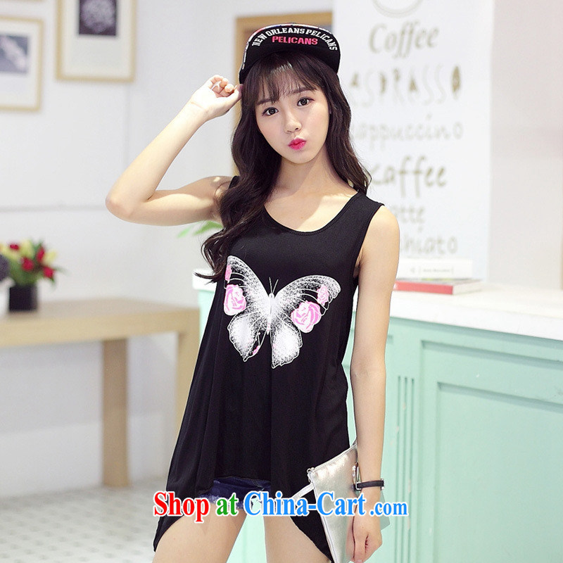 Summer 2015 new female stamp sleeveless girl T-shirt Korean students relaxed casual Sleeveless T-shirt the T-shirt picture color black one size