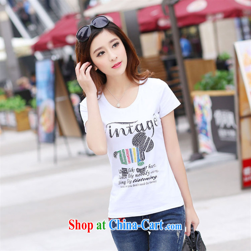 Korean edition 2015 summer new stylish English stamp female small T-shirt beauty graphics thin short sleeved shirt T pale yellow XL