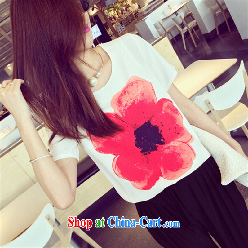 ebay new women trend in Europe and the flowers streaking round-collar short-sleeved white snow T woven shirts white L