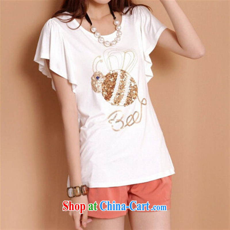 Summer new Korean personality, Mostar, female short-sleeve shirt T flouncing white larger Ladies black XXL