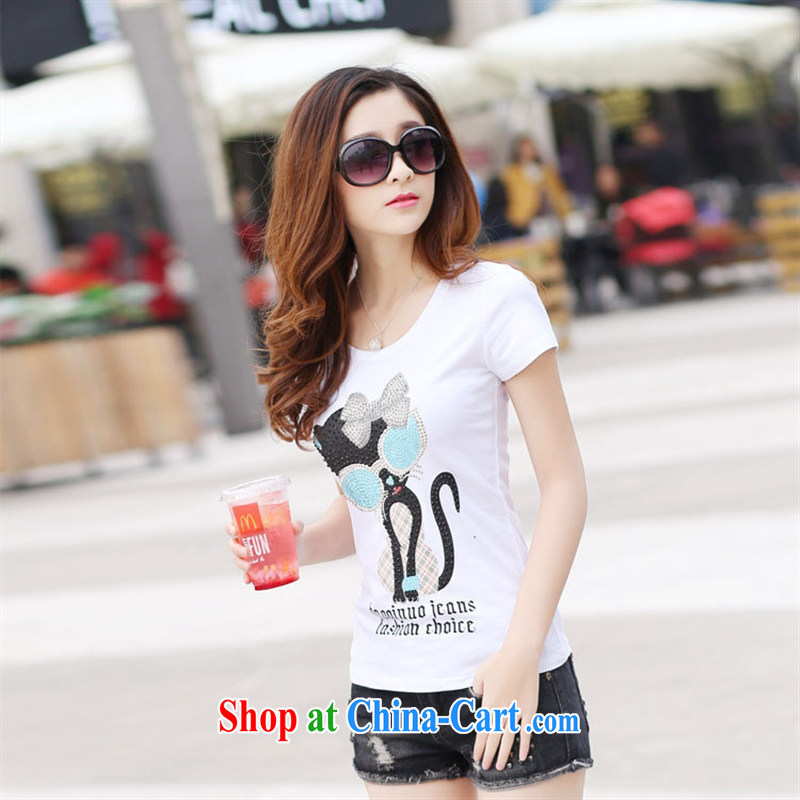 2015 spring and summer new t-shirt short Korean girls short-sleeved T-shirt solid middle and high school students T shirts small shirts summer white XL