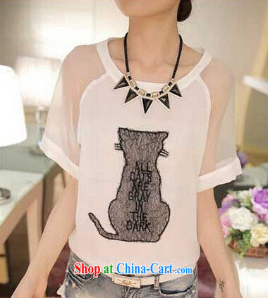 2015 short-sleeved female T shirts snow woven stitching solid shirt relaxed kitten cute pattern round neck T-shirt white XXL