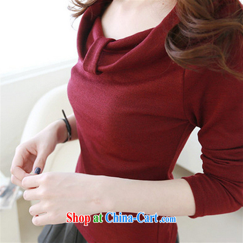 Spring 2015 new Korean sweet draw wrinkles wide neckline solid-colored girls and a field for cultivating T shirt wine red XL