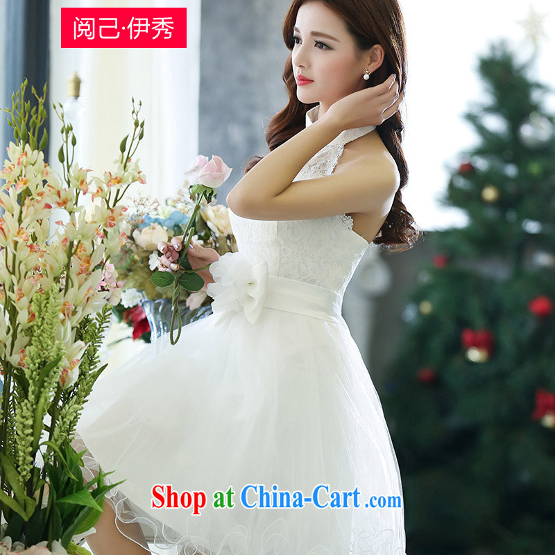 Access to and the Su-2015 spring in beauty, ladies lace-up high-end annual wedding Evening Dress 1516 A white XL