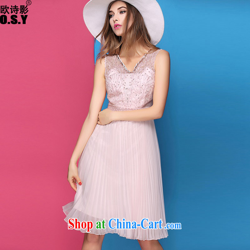 The poetry film 2015 spring and summer with new Silk nails V pearl cultivation for embroidered dresses style high-end dress skirt pink XL