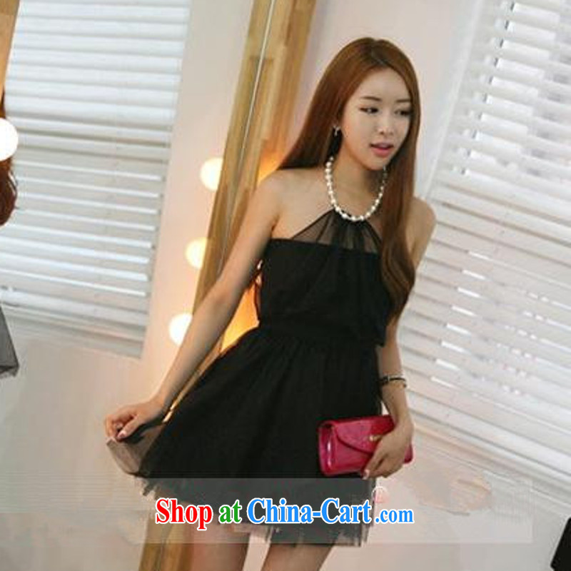 Hin-fly 2015 summer women's clothing new beautiful new sexy night Pearl hanging also exposed the princess shaggy Web yarn small dress B 5936 black L
