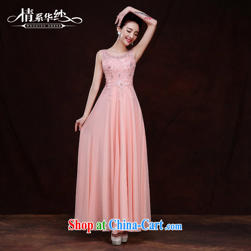 The china yarn 2015 New red long marriages wedding dresses Evening Dress girl toast clothing bridesmaid clothing spring and summer, pink. size does not accept return
