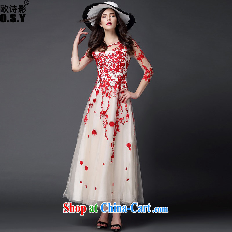 The poetry film 2015 autumn and winter new European Big Web yarn stitching and staples Pearl embroidered beauty dress dress long skirts red XL