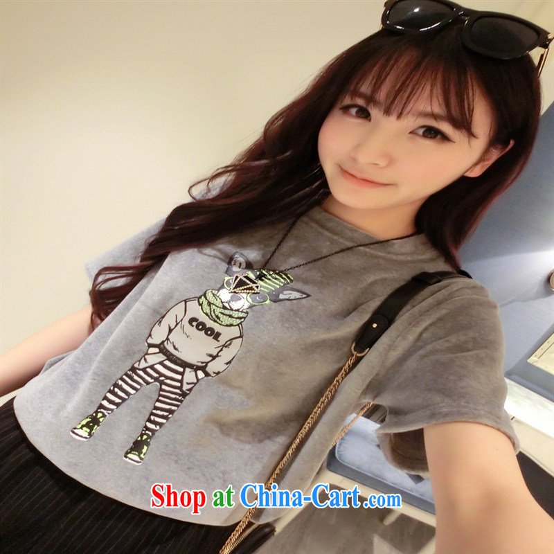 2015 spring and summer new Korean version 100 a cartoon dog stamp short sleeve shirt T female chocolate color code