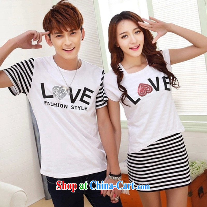Couples with summer 2015 new Korean short-sleeve cotton shirt T men and women serving on red female XL