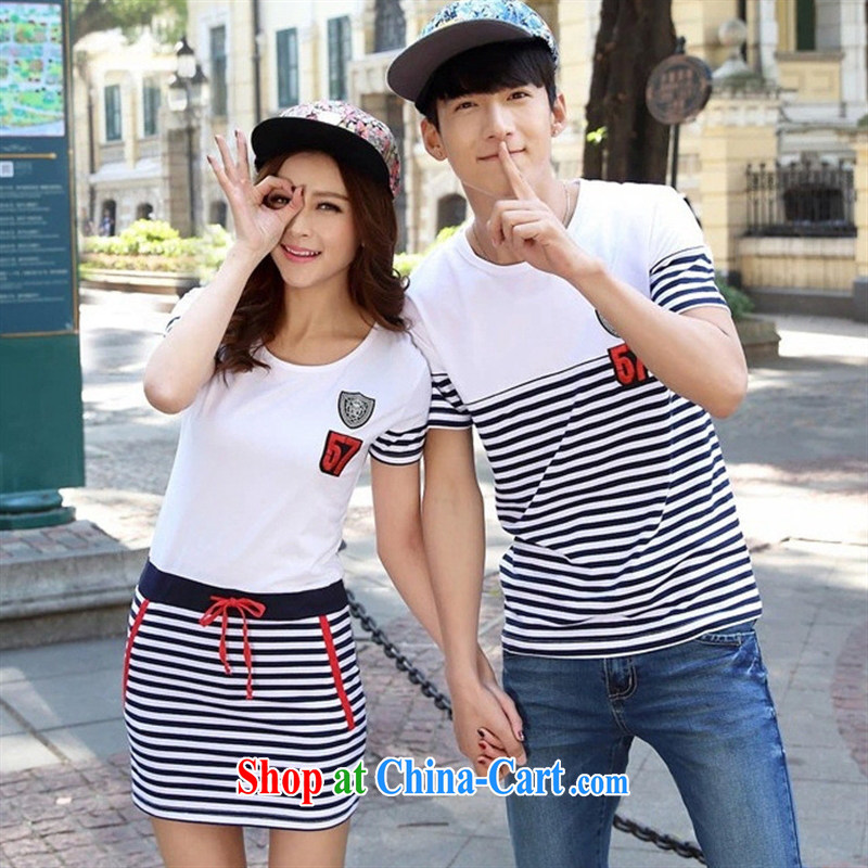 2015 new Korean couples men and women with a short-sleeved shirt T in long streaks dresses female students with pictures and color XXL