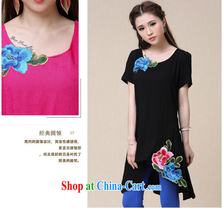 Female female summer new ethnic wind embroidered loose, long T shirts girls cotton by 9560 red 2 XL pictures, price, brand platters! Elections are good character, the national distribution, so why buy now enjoy more preferential! Health