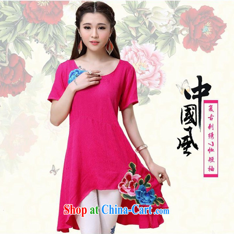 Female female summer new ethnic wind embroidered loose, long T shirts girls cotton by 9560 red 2 XL