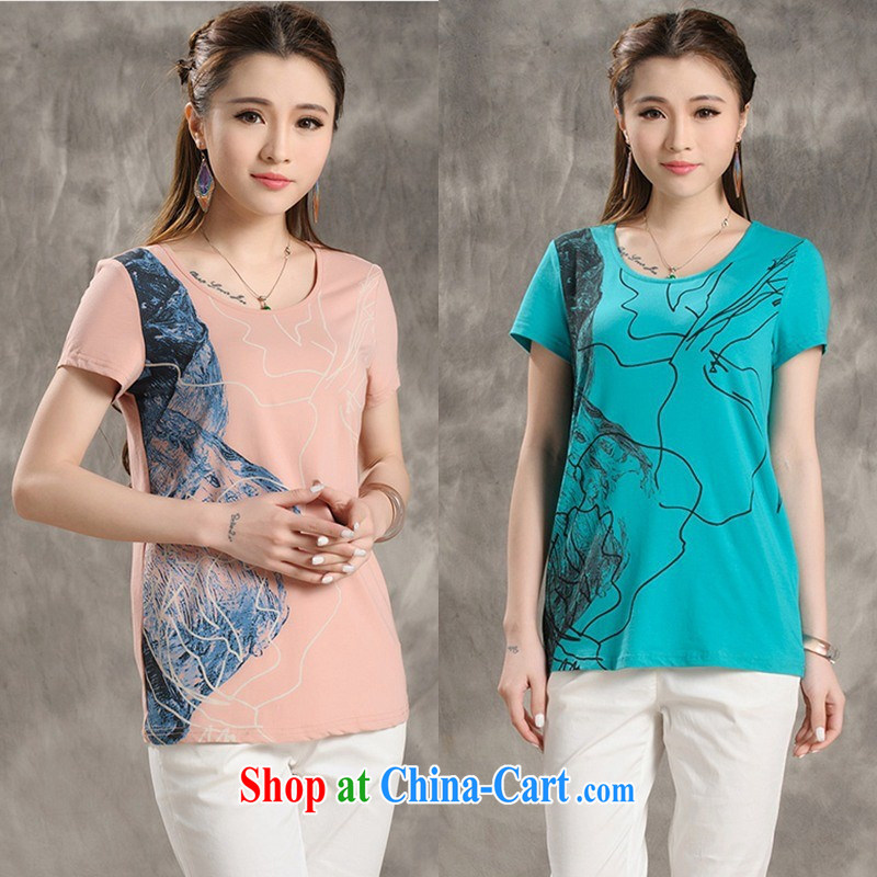 Female summer new literary hit color Ethnic Wind stamp round-collar short-sleeve shirt T female B 181 white 2XL