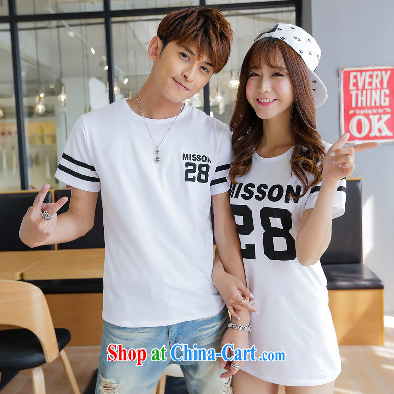 For Couples with summer dresses 2015 new Korean version in cultivating long, men and women students in minimalist T shirts dresses black male XXL