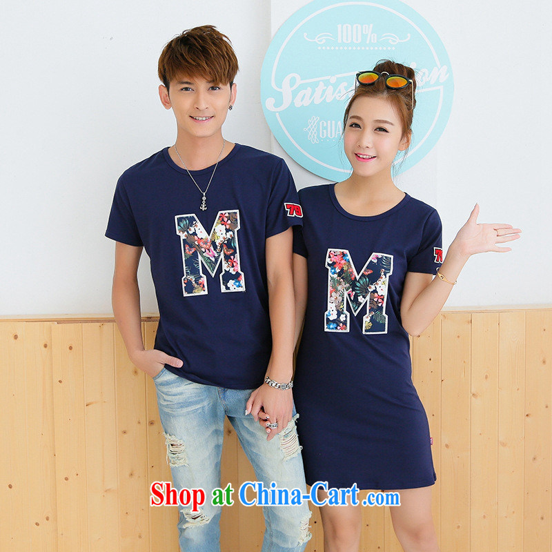 Summer 2015 new couples with long, short-sleeved T-shirt pure cotton half sleeve T-shirts female white male XXL