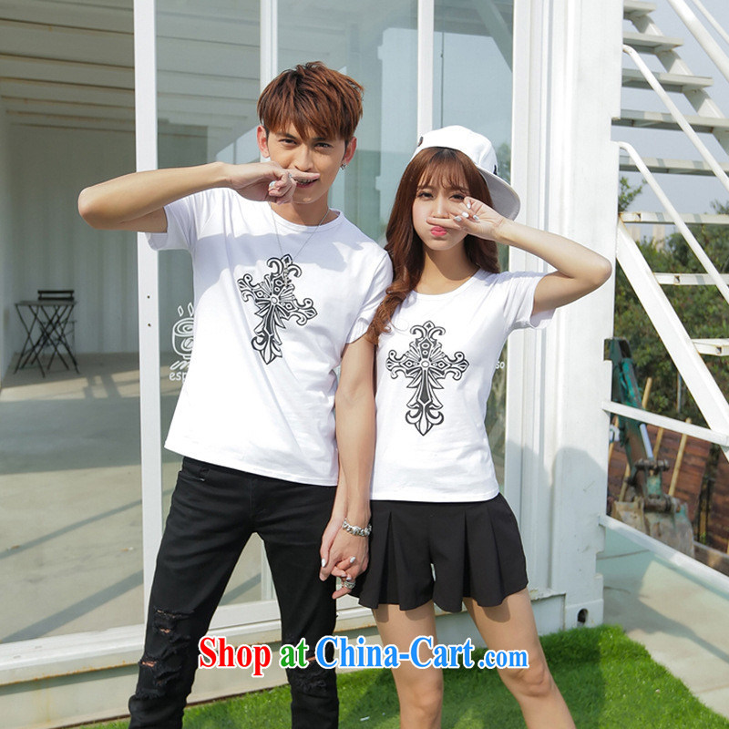 2015 summer new Ethnic Wind round-collar couples with a short-sleeved shirt T T men shirt solid white shirt girl L