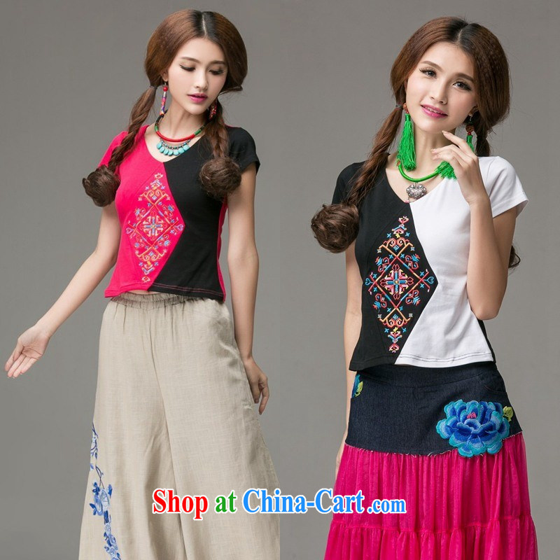 Ladies summer new ethnic wind knocked color embroidered round-collar short-sleeve shirt T girls cotton 2658 red XL
