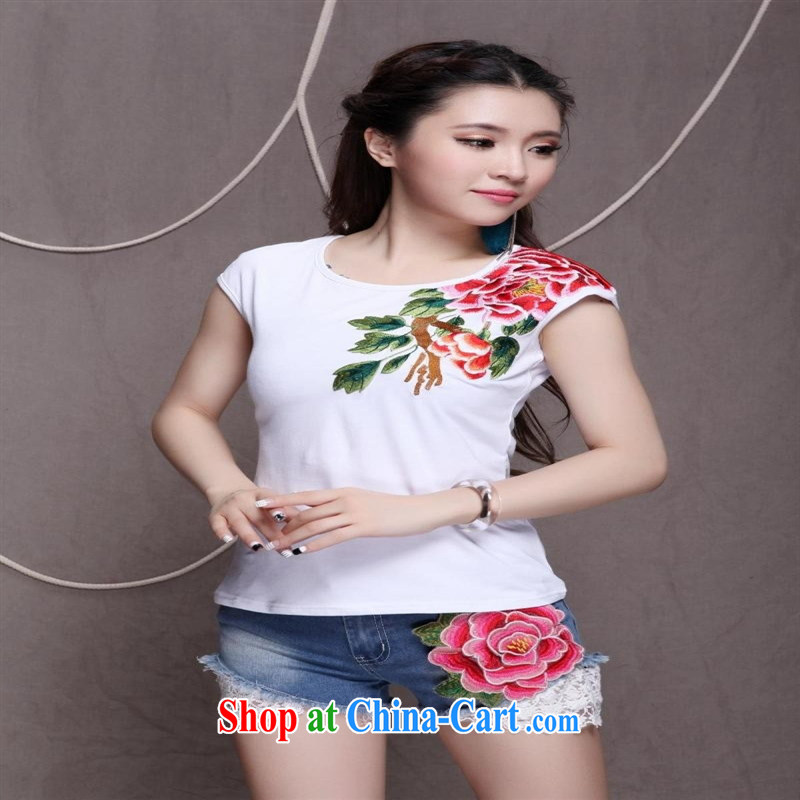 Women summer 2015 stylish Ethnic Wind two-color front and back embroidered girls short-sleeved shirts T white 4XL
