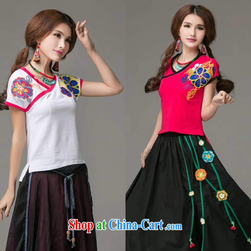 Ladies summer wear new Ethnic Wind embroidered Chinese wind a tight short-sleeved round-collar T pension 2659 white 3XL