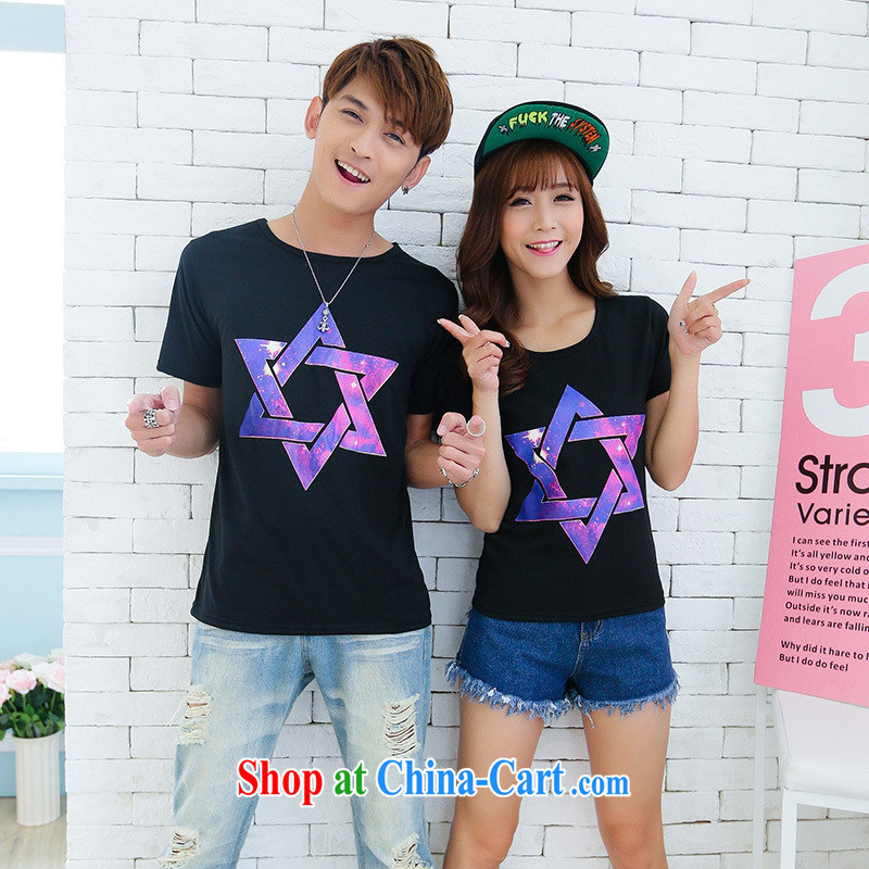 2015 couples with summer new Korean leisure Beach, relaxed couples with short-sleeved T-shirt white male XXL
