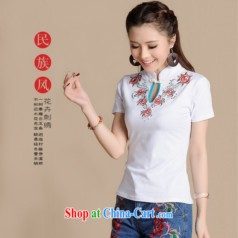 Ladies summer new ethnic wind embroidery beads, and for the charge-back T shirts girls cotton 6911 white 2XL
