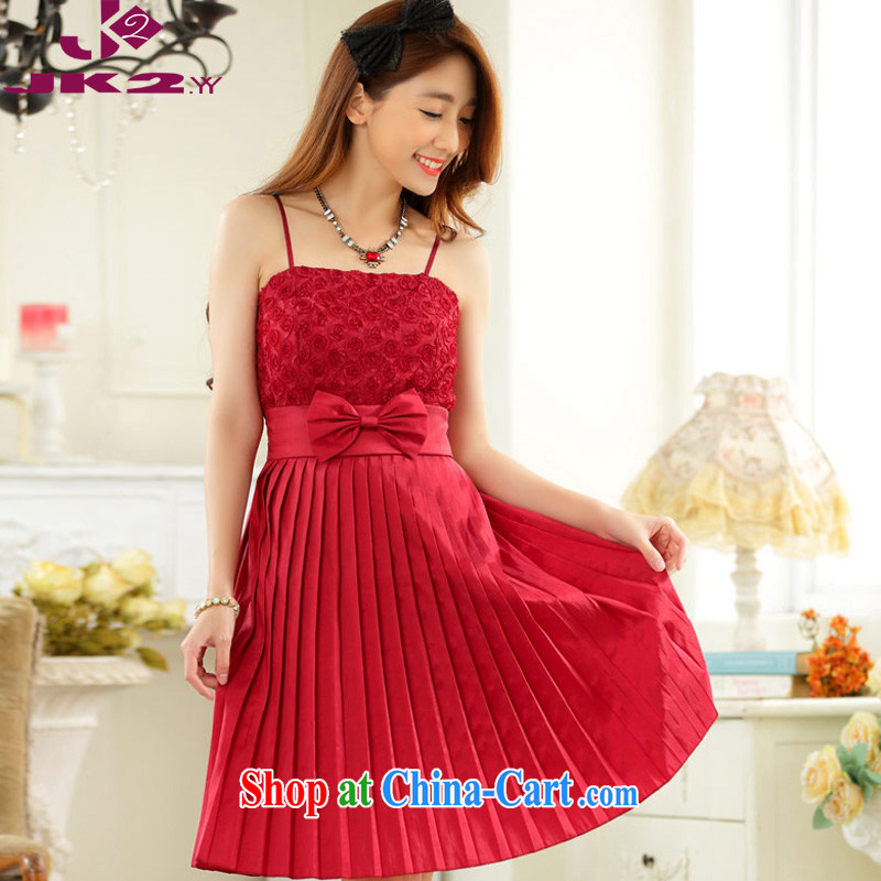 The package mail, Japan, and the ROK straps skirt annual gathering web yarn 100 hem bare shoulders dress sister skirts show high waist graphics thin thick MM larger dresses red XXXL