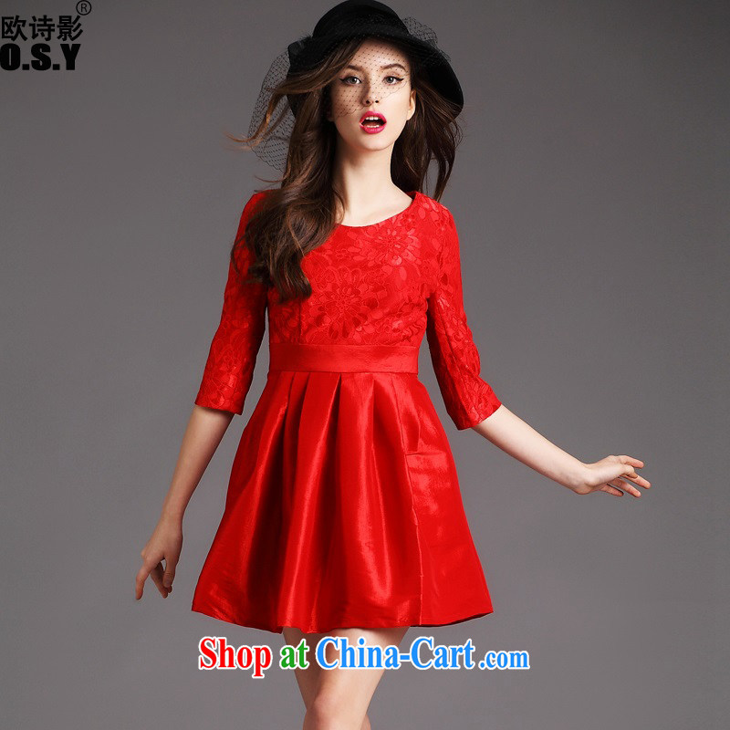 The poetry film 2015 autumn and winter, the cuff in dress lace stitching embroidered shaggy dress dress uniform toast chaired the doors married women A Field skirt red M