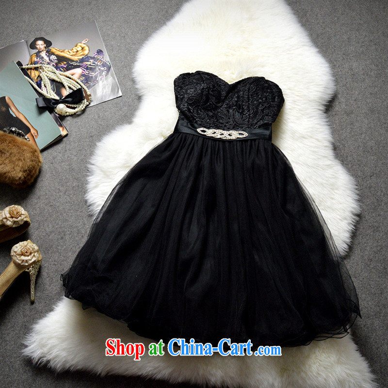 The European site women 2015 new Korean version wiped chest dress shaggy dress marriage reception video thin dress skirt 122,508 black L